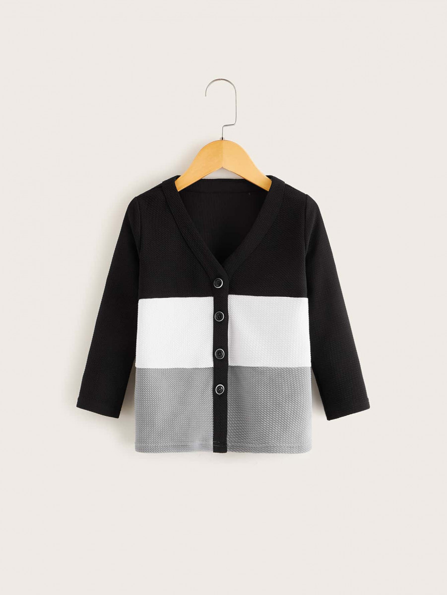 Toddler Girls Cut And Sew Button Front Coat