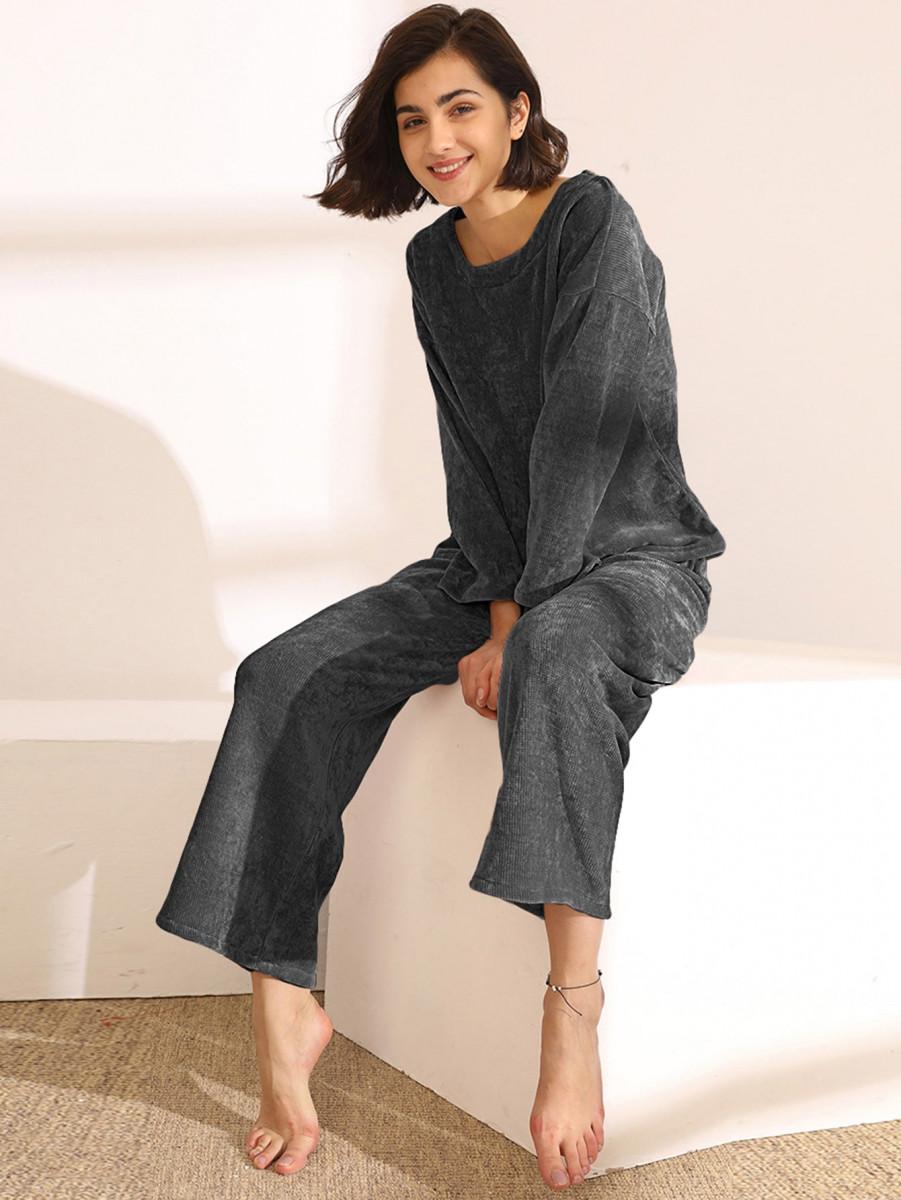 Solid Long Sleeve PJ Set