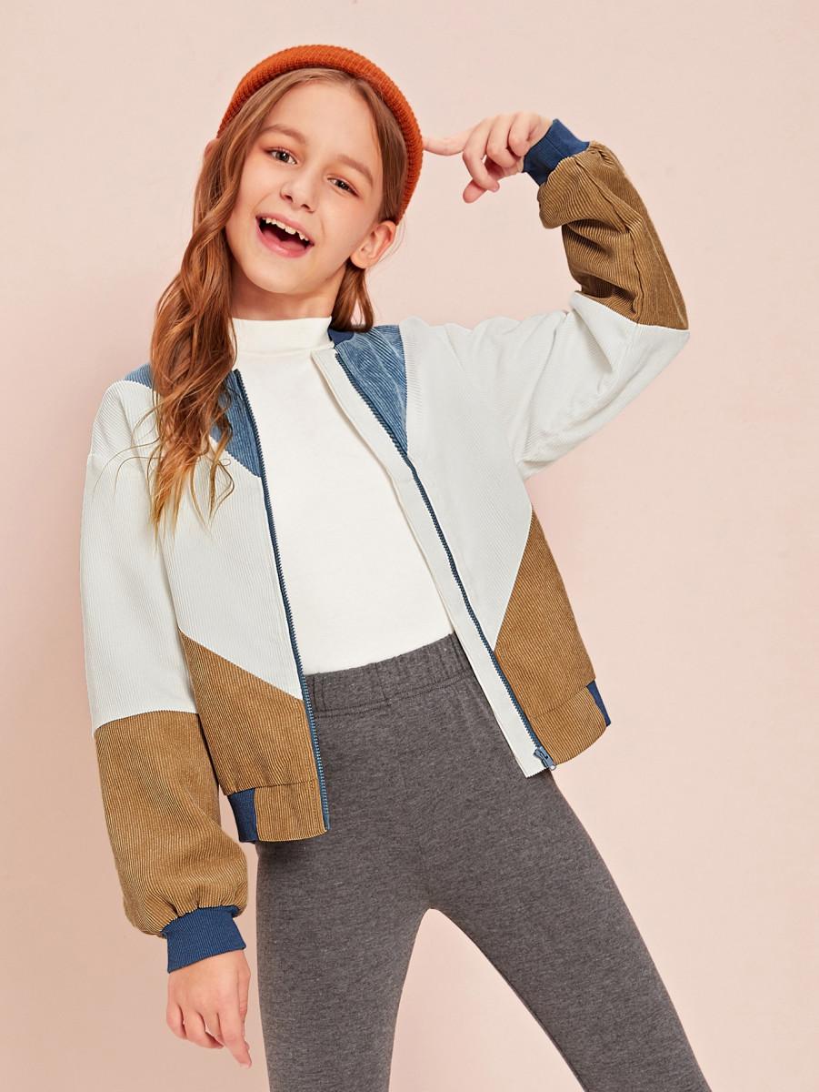 Girls Zip Up Colorblock Cord Jacket