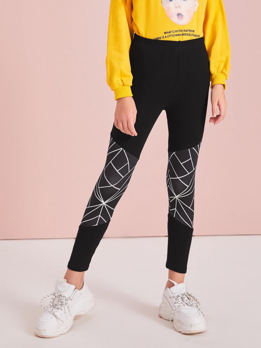 Girls Geo Panel Cut-and-sew Leggings