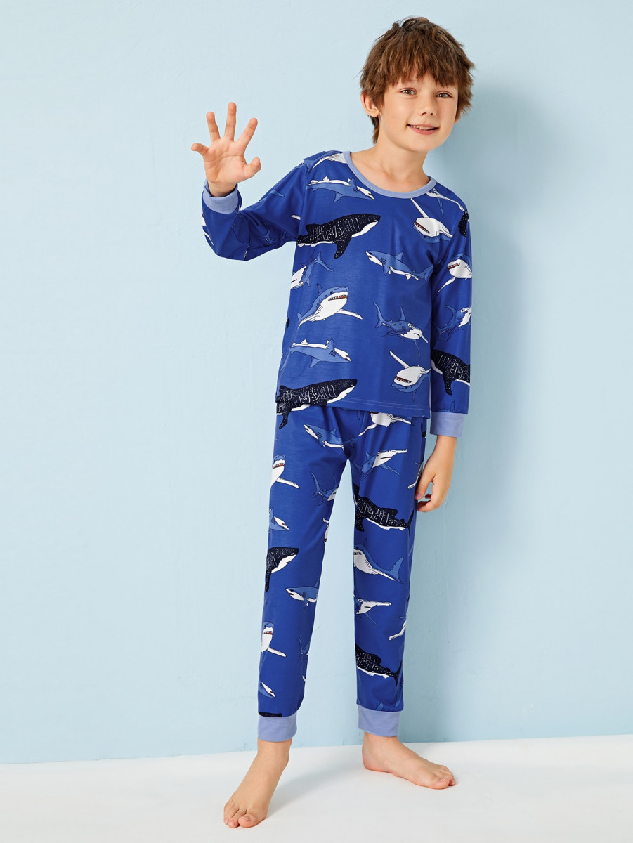 Boys Shark Print PJ Set