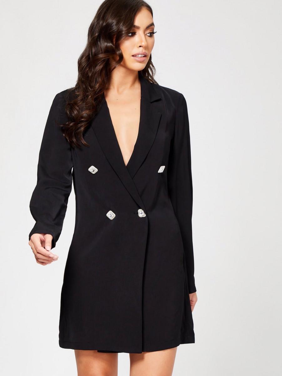 Notched Collar Diamante Button DB Blazer Dress