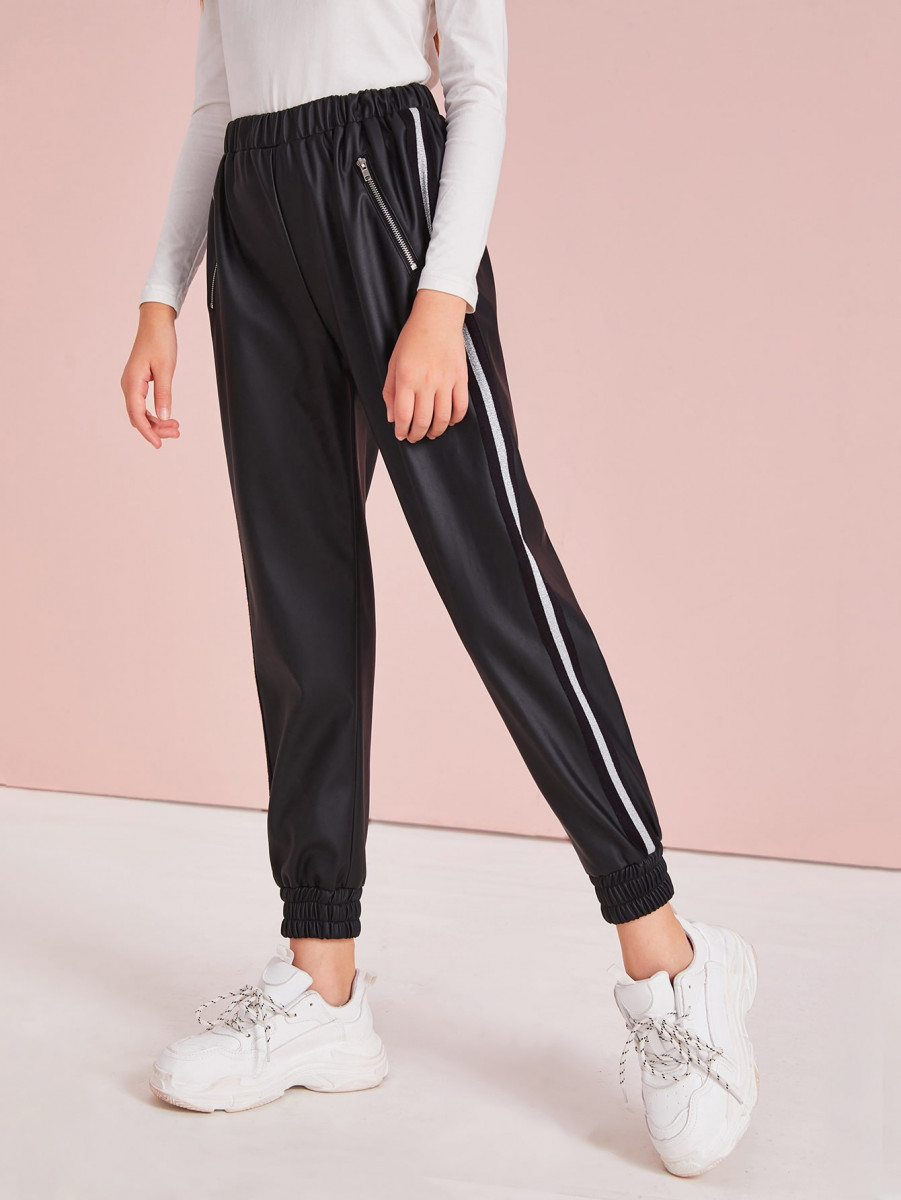Girls Zip Detail Side Striped PU Leather Carrot Pants