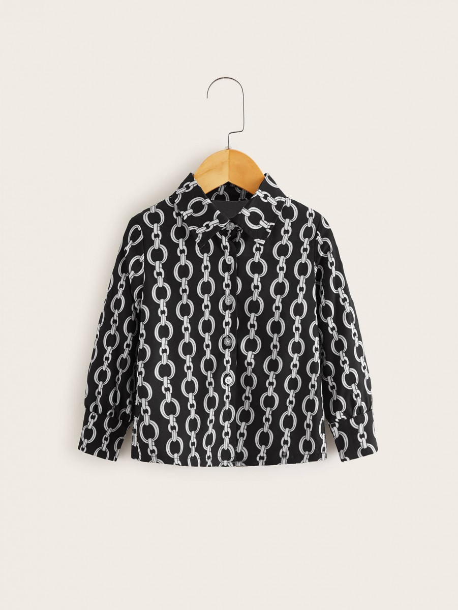 Toddler Boys Chain Print Button Front Shirt