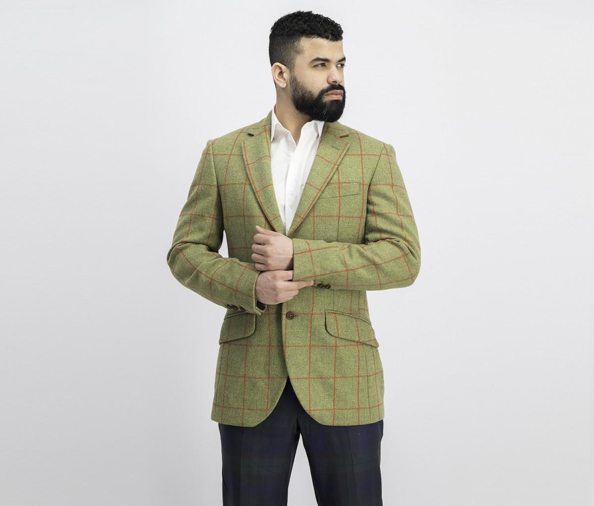 Hackett Mens Plaid Blazer  Green/Red
