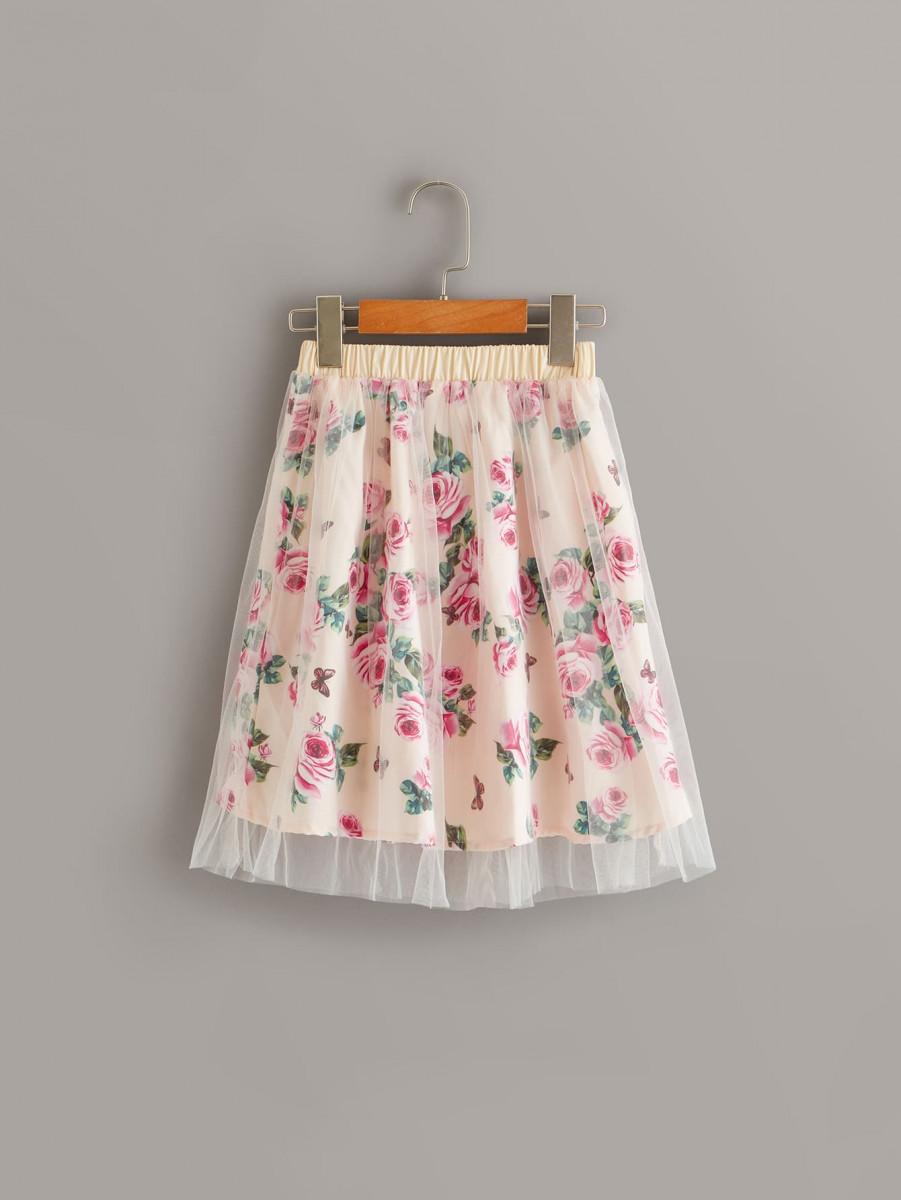 Toddler Girls Floral Print Mesh Overlay Elastic Waist Skirt