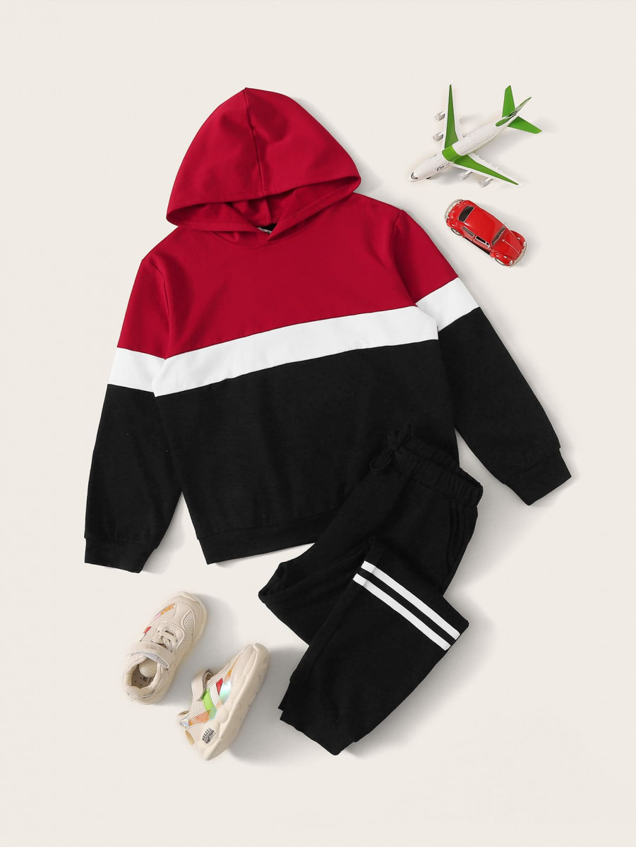 Boys Colorblock Hoodie & Striped Joggers Set