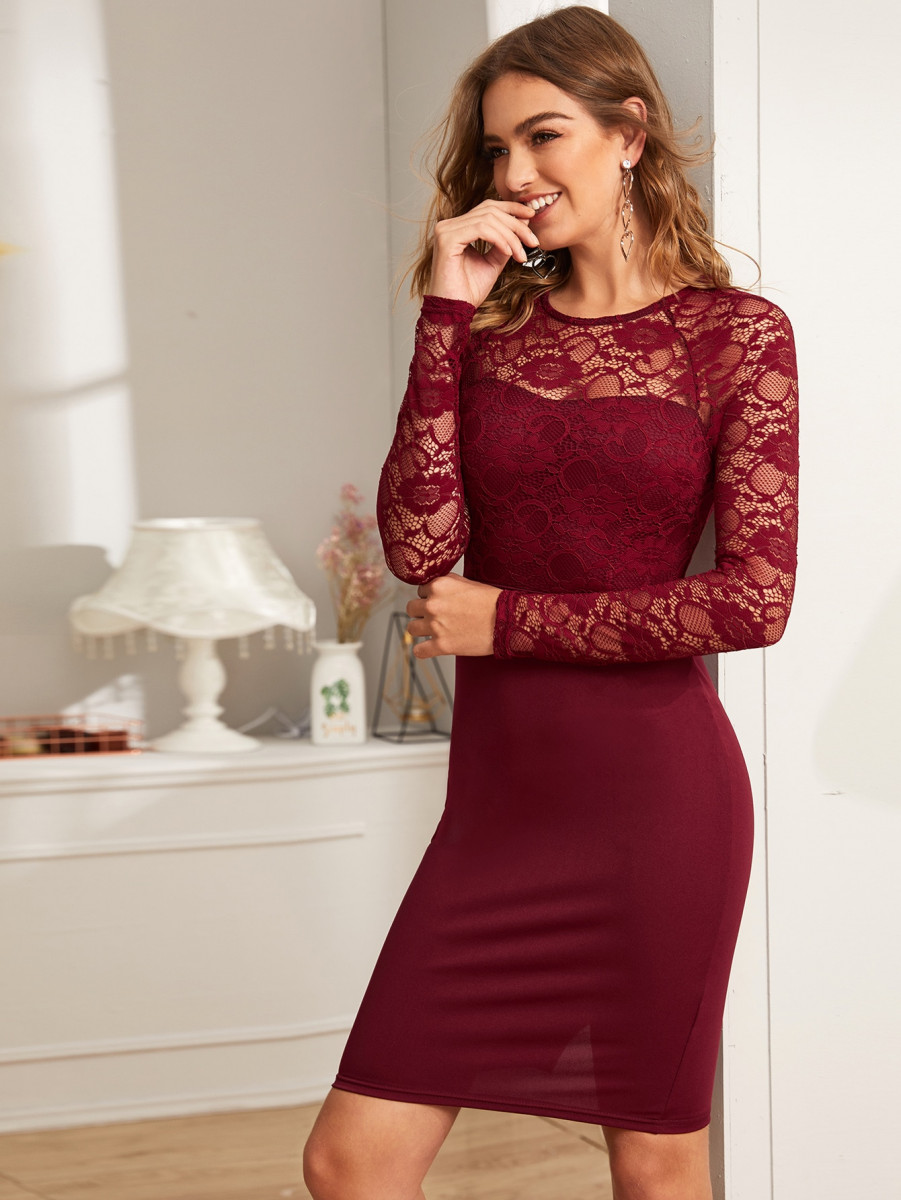 Floral Lace Bodice Solid Dress