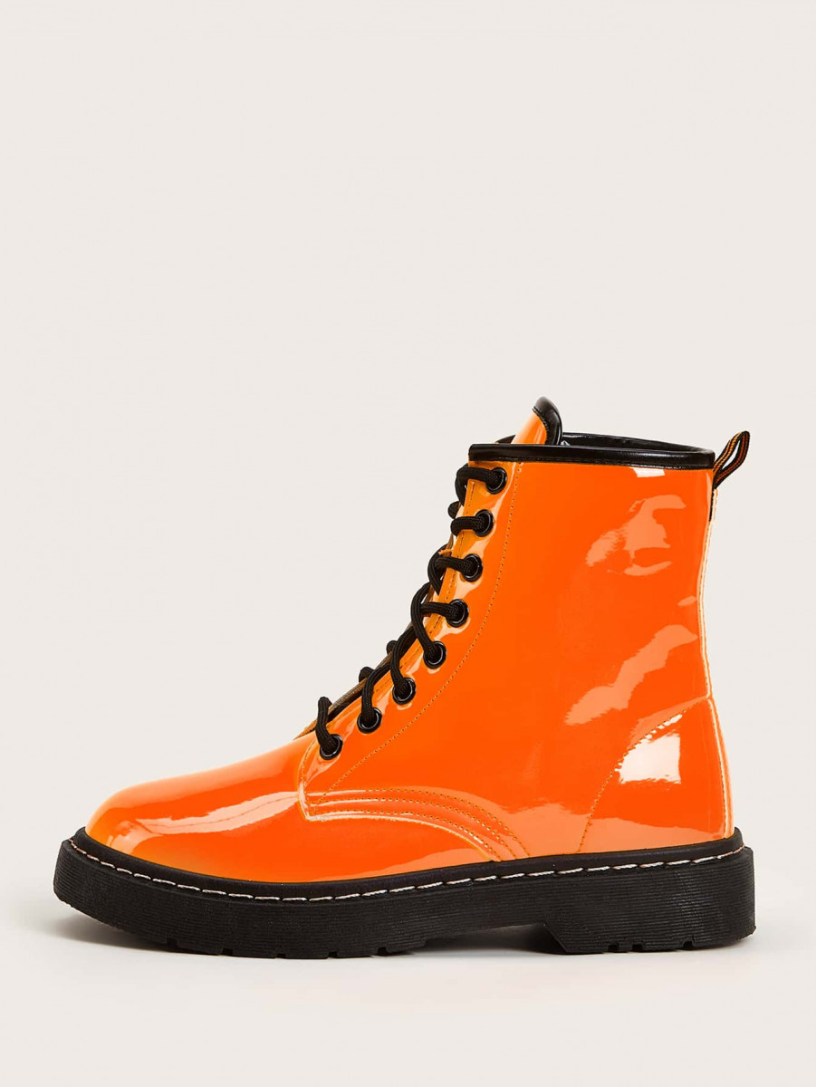 Neon Orange Contrast Trim Combat Boots