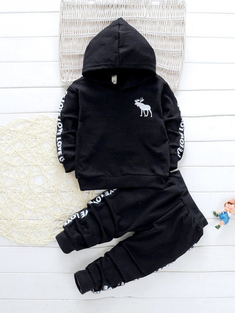 Toddler Boys Letter Tape Hoodie With Joggers