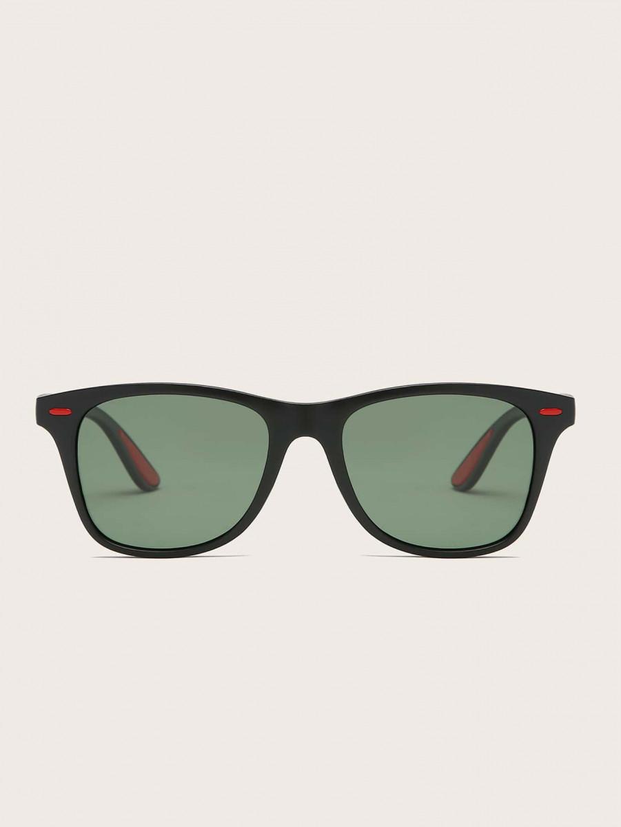Men Rivet Decor Flat Lens Sunglasses