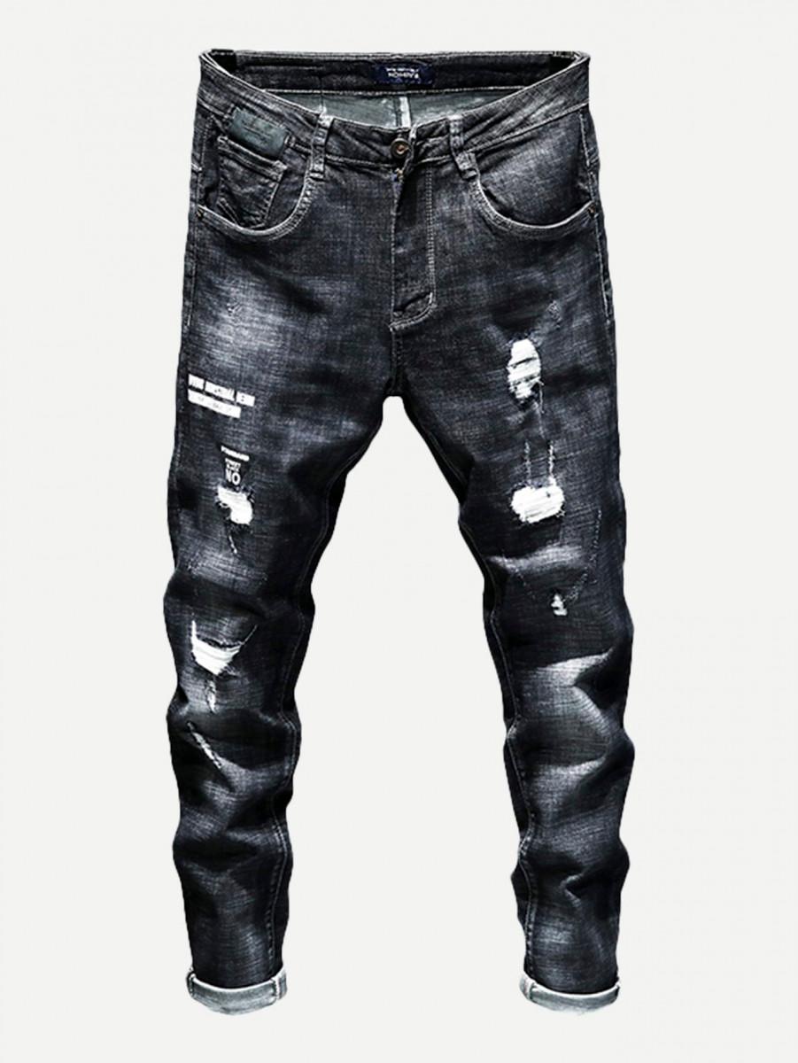 Men Rolled Hem Destroyed Jeans