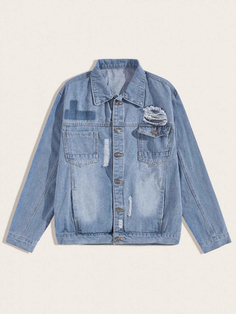 Men Pocket Front Ripped Trucker Jacket