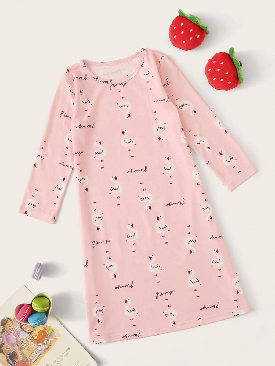 Toddler Girls Cartoon Flamingo Print Night Dress