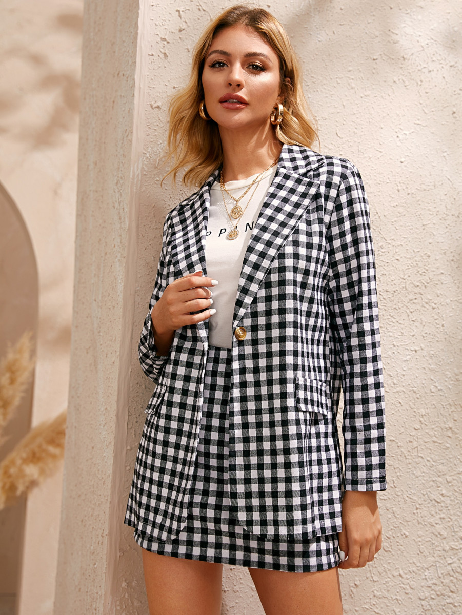 Single Button Gingham Blazer & Skirt