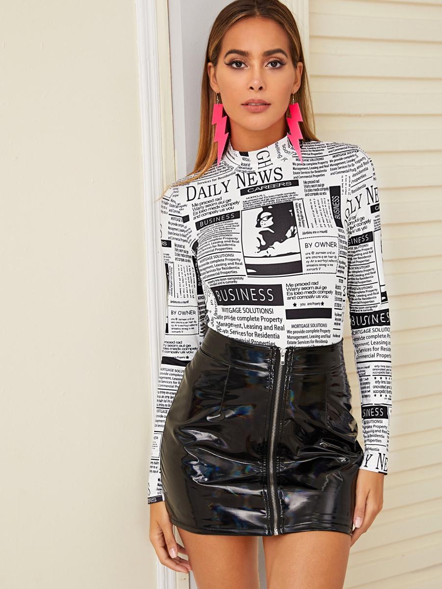 Newspaper Print Stand Collar Tee
