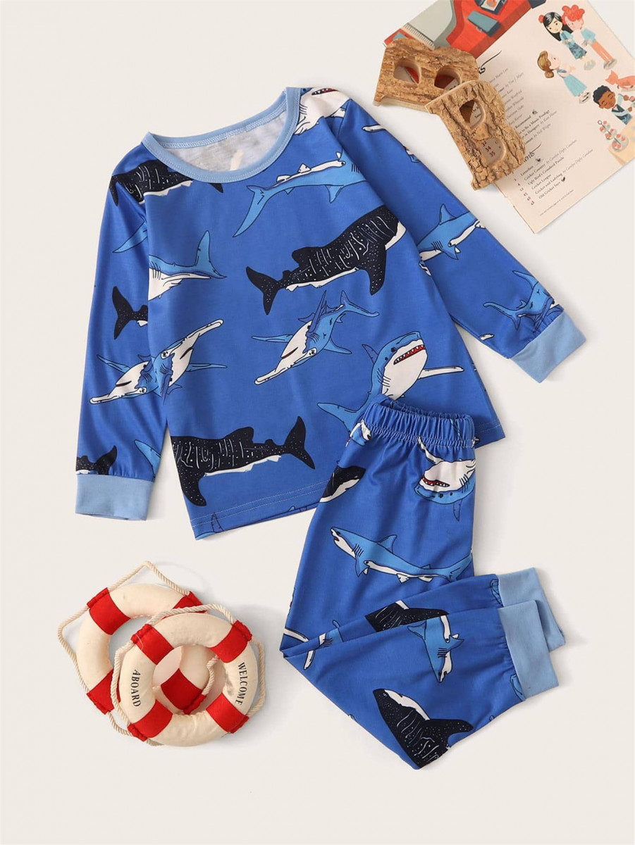 Toddler Boys Shark Print PJ Set