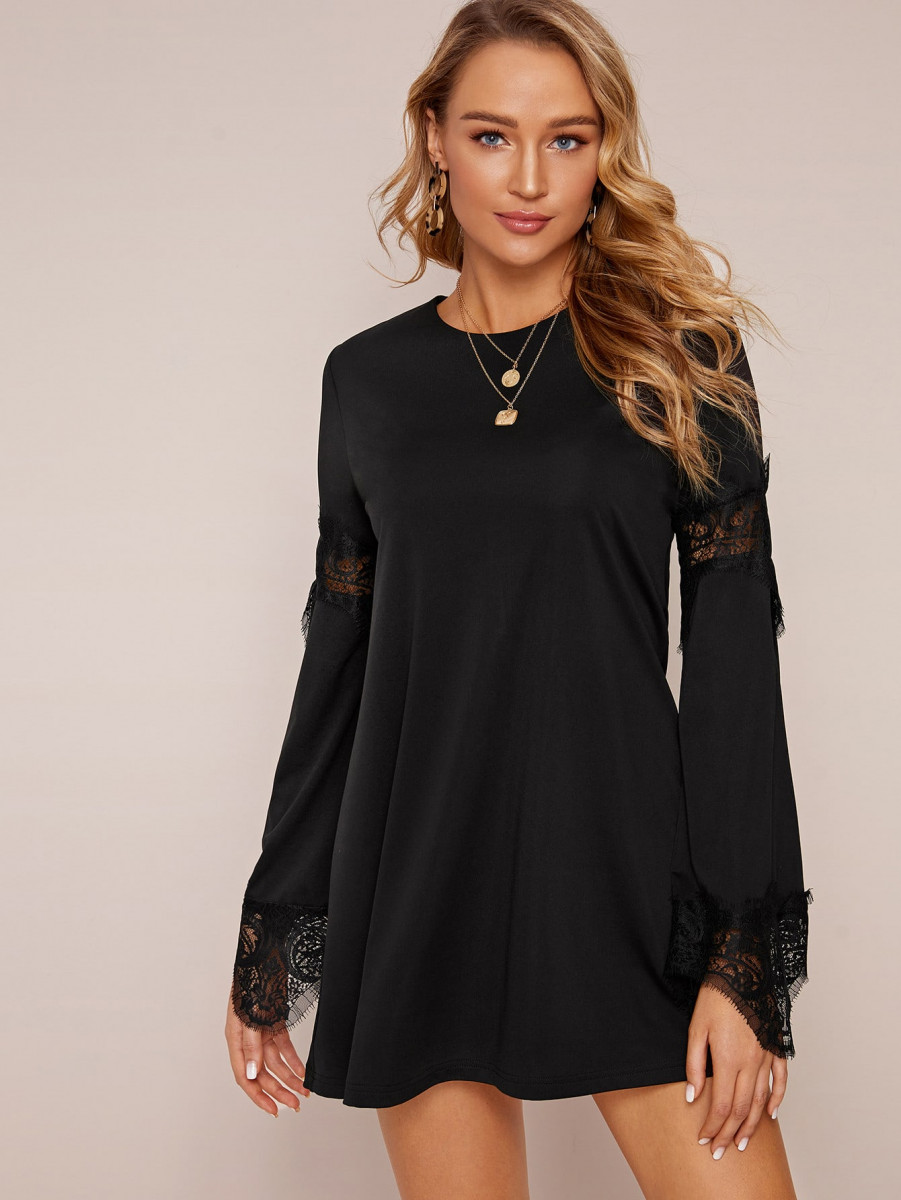Solid Contrast Lace Zip Back Dress