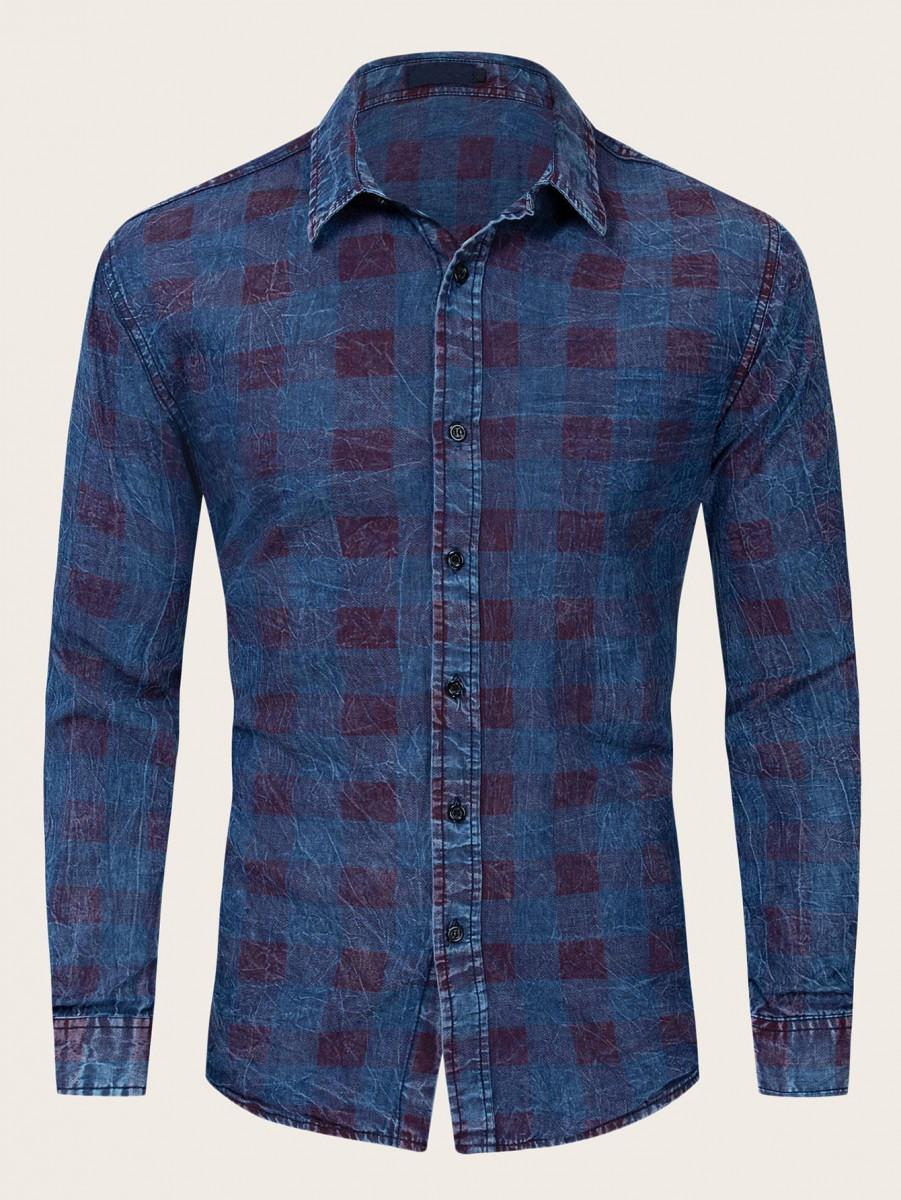 Men Button Front Plaid Denim Shirt