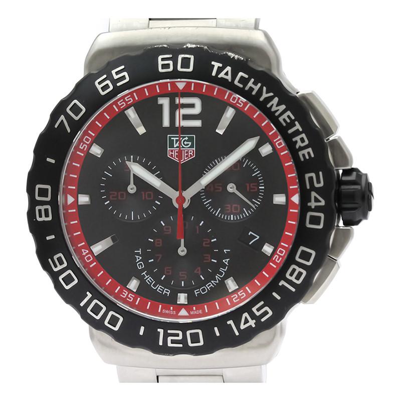 Tag Heuer Black Stainless Steel Formula 1 Chronograph CAU1116 Men's Wristwatch 42MM