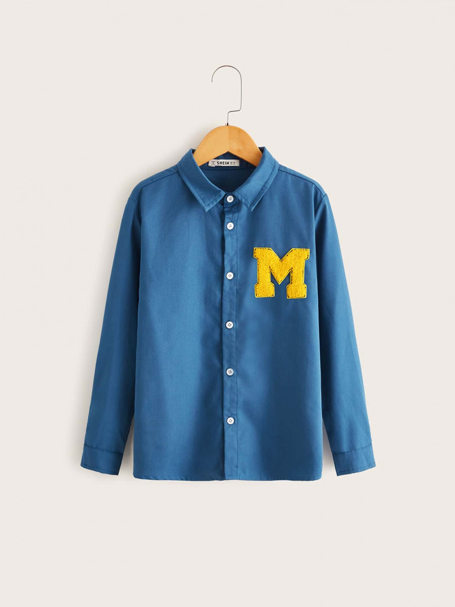 Boys Letter Patched Shirt