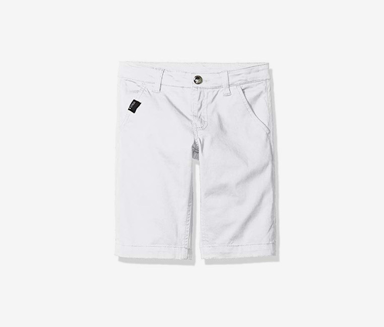 Guess Boys Big Flat Front Colored Twill Short  White