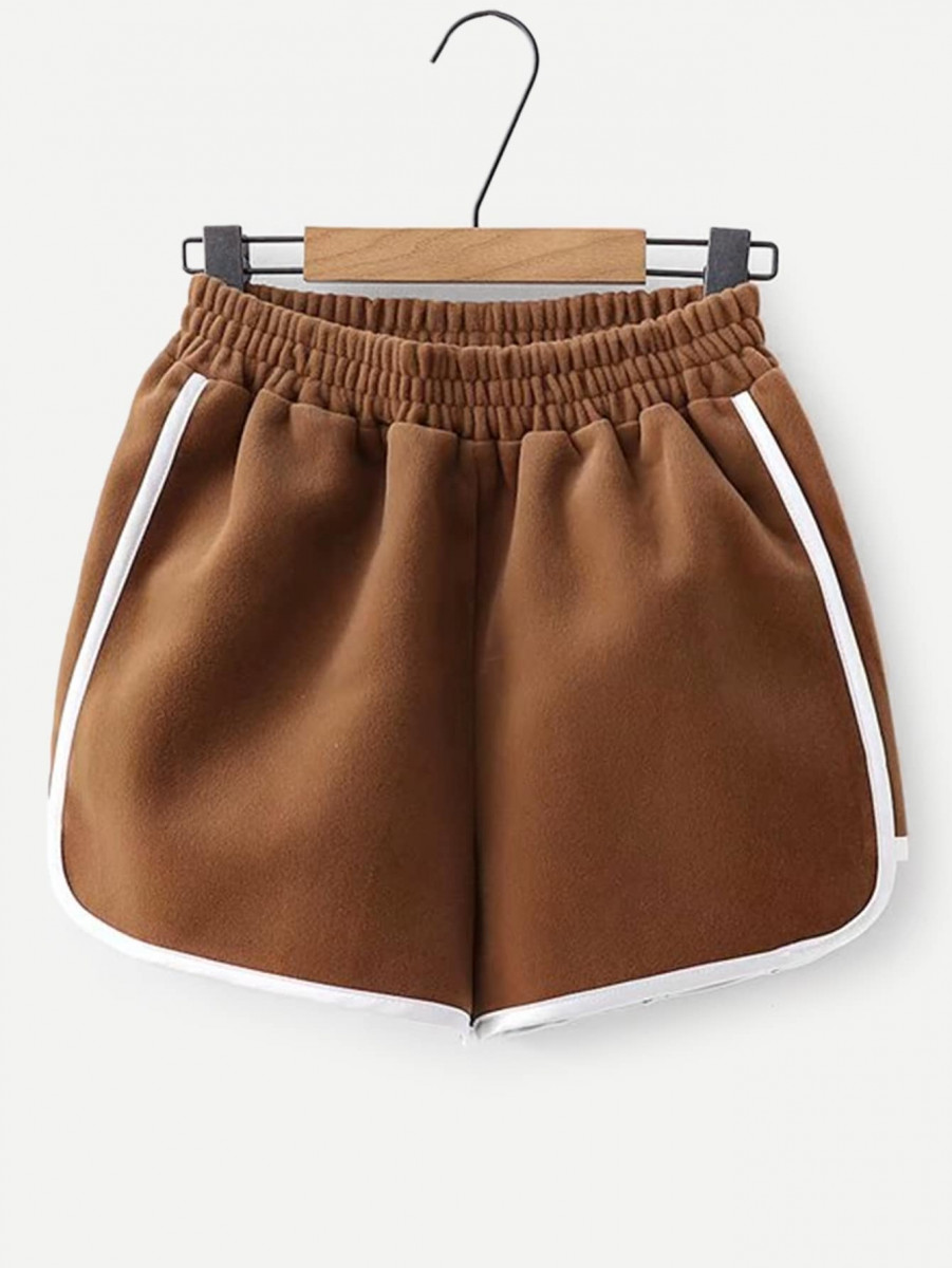 Contrast Tape Trim Solid Shorts