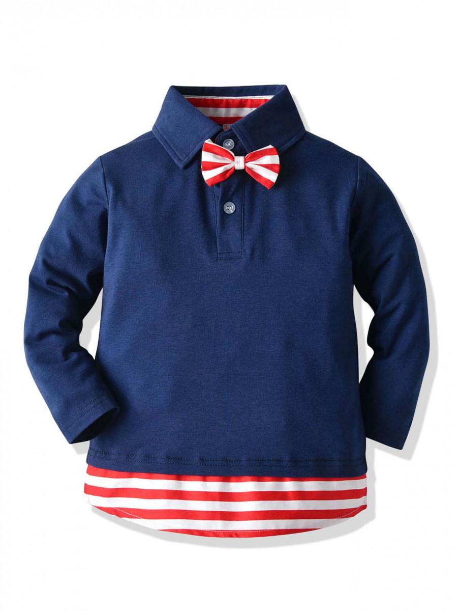 Toddler Boys Contrast Striped Hem Bow Polo Shirt