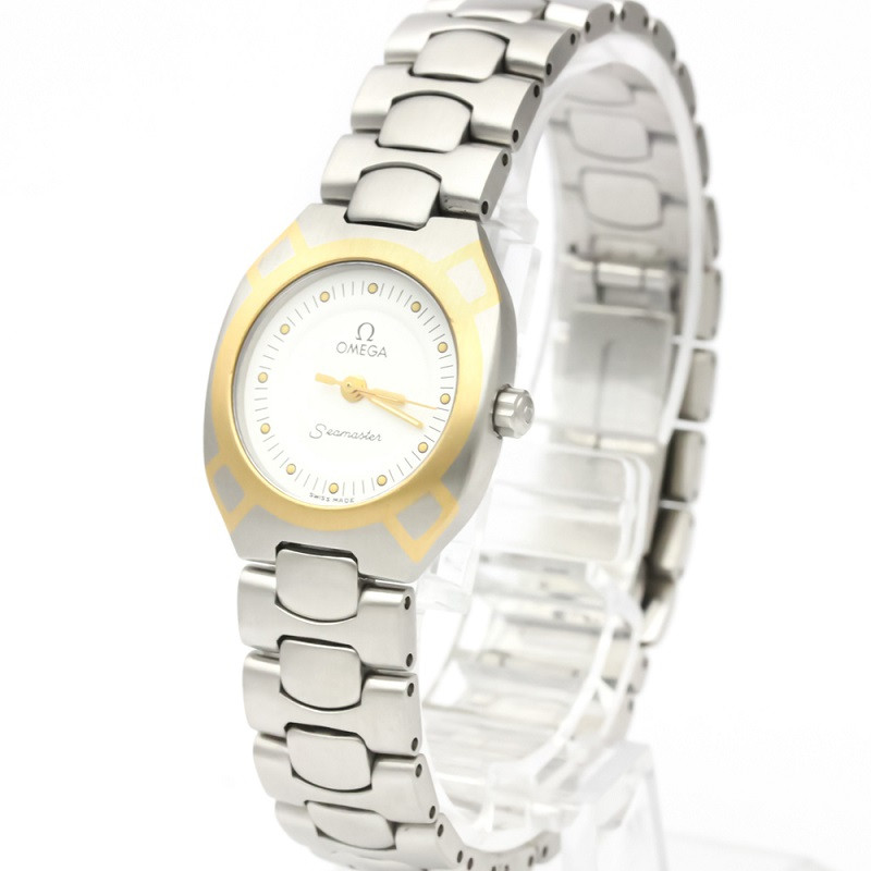 Omega White 18K Yellow Gold And Stainless Steel Seamaster Polaris 796.1022 Women's Wristwatch 21 MM