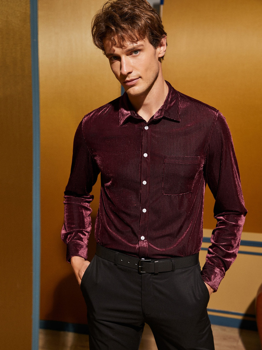 Men Pocket Front Cord Shirt