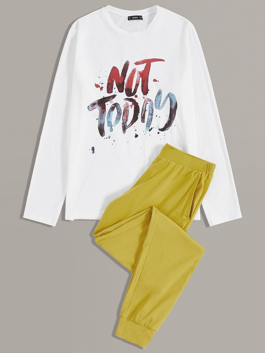 Men Slogan Graphic Top & Pants PJ Set
