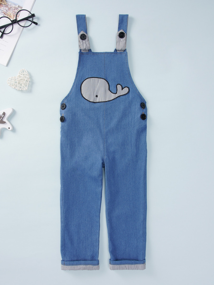 Toddler Boys Whale Patched Button Side Overalls