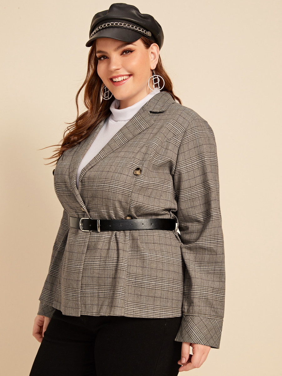 Plus Glen Plaid Print Double Breasted Blazer With Belt
