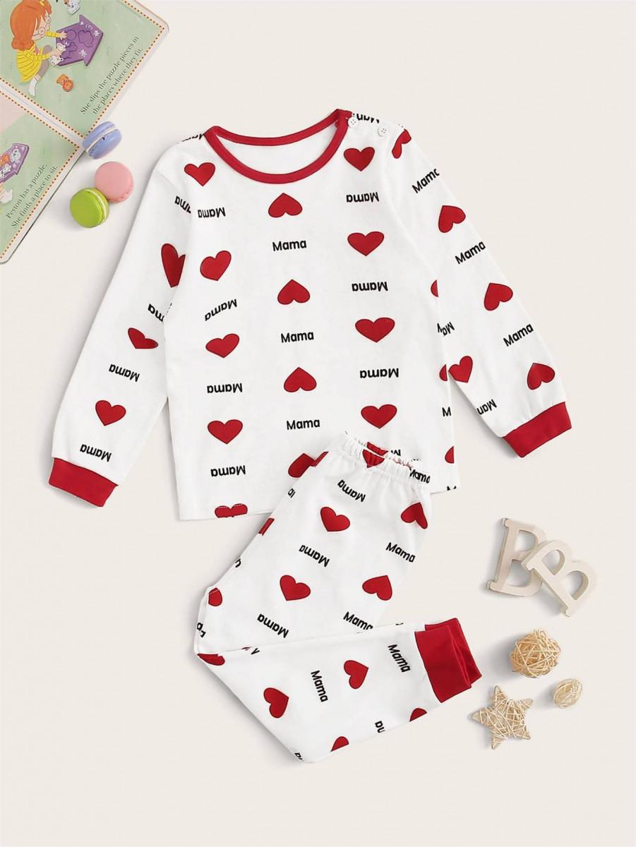 Toddler Girls Heart Print PJ Set