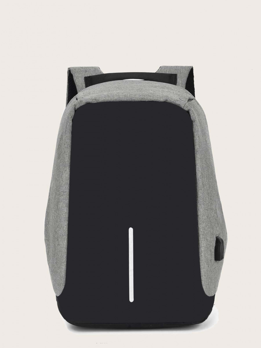 Men Color Block USB Charging Port Backpack