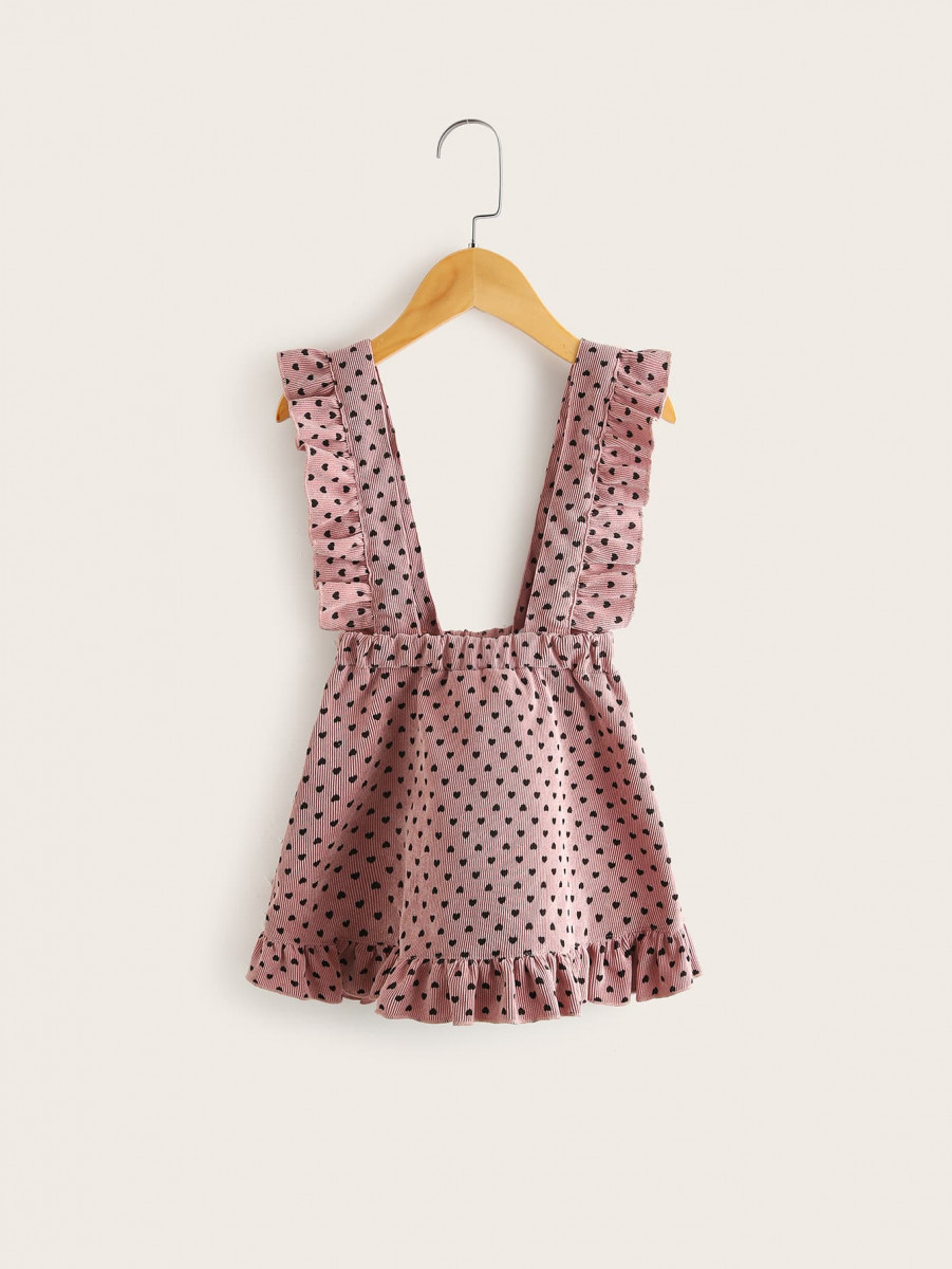 Toddler Girls Corduroy Confetti Heart Ruffle Pinafore Skirt