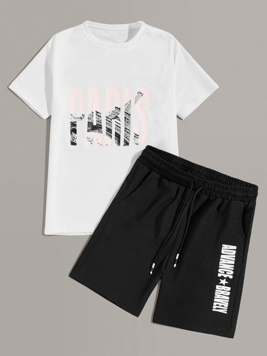 Men Letter Print Tee & Drawstring Shorts