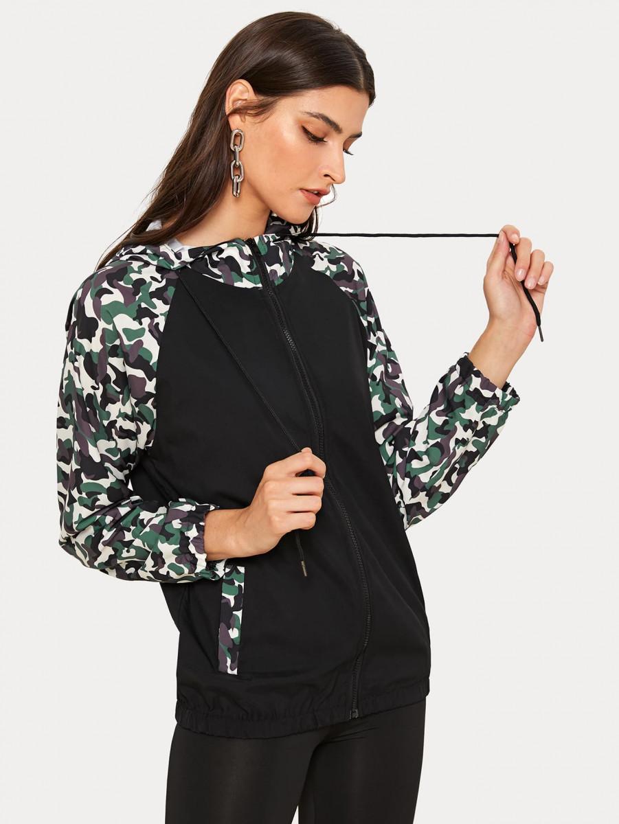 Contrast Camo Print Zip-up Hooded Windbreaker Jacket