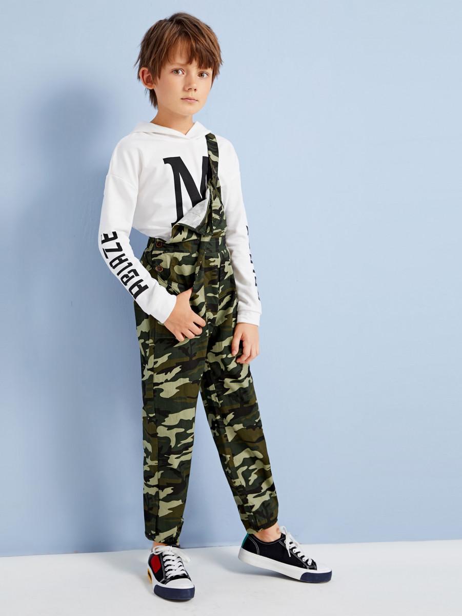 Boys Multi-pocket Crisscross Back Camo Overalls