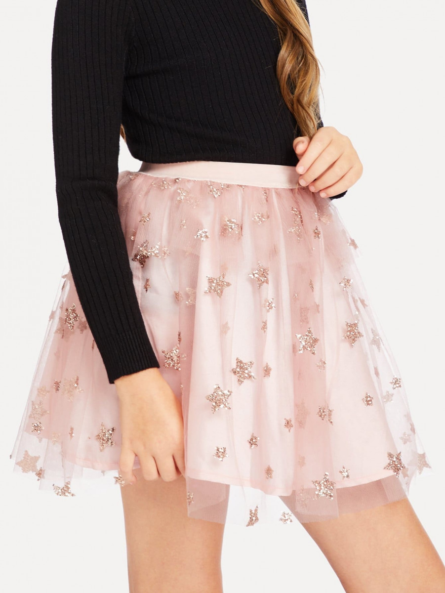 Girls Star Sequin Mesh Skirt