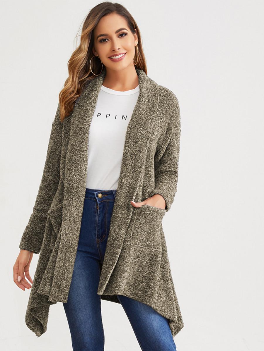 Contrast Faux Fur Drawstring Waist Lined Parka Coat