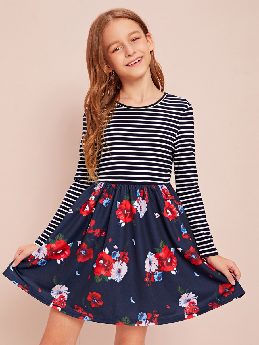 Girls Floral and Striped Print Skater Dress