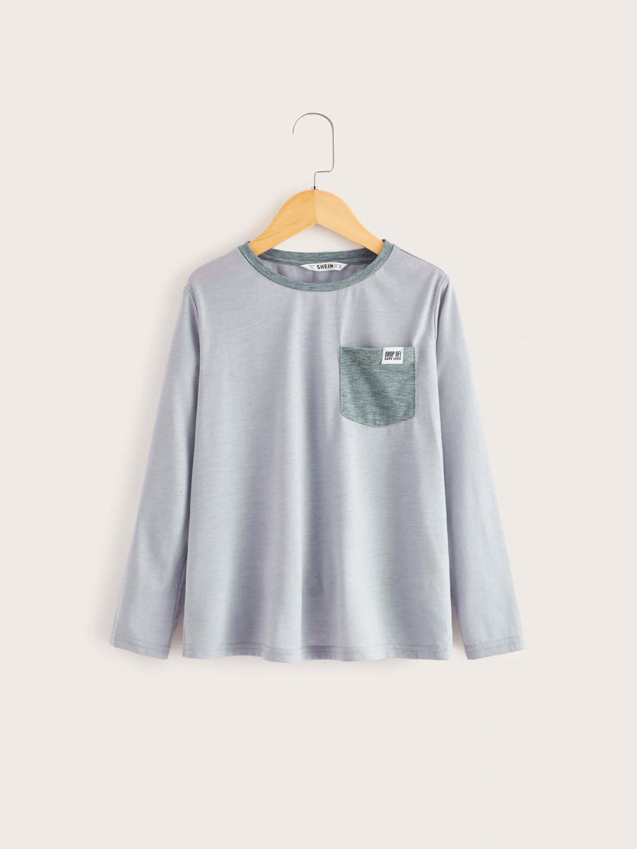 Boys Single Pocket Long Sleeve Tee