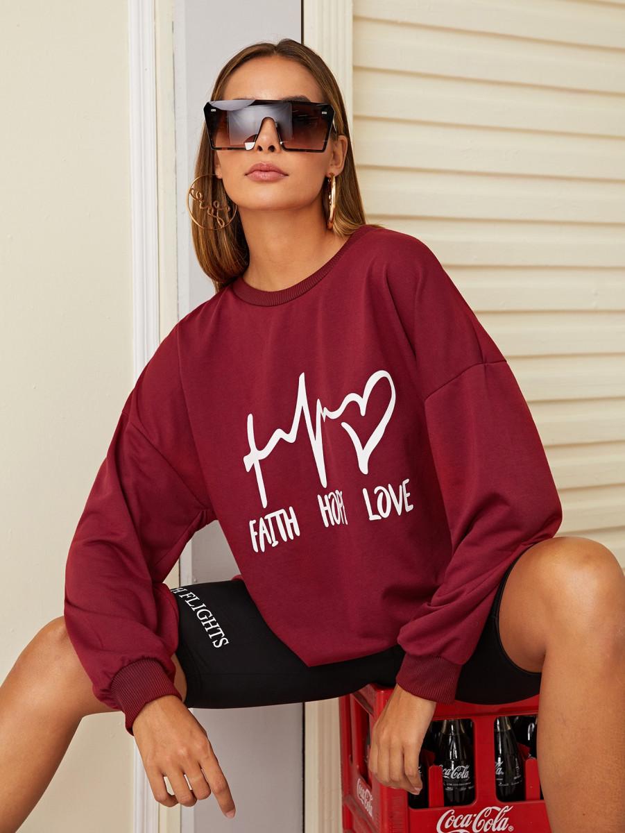 Letter Graphic Drop Shoulder Sweatshirt