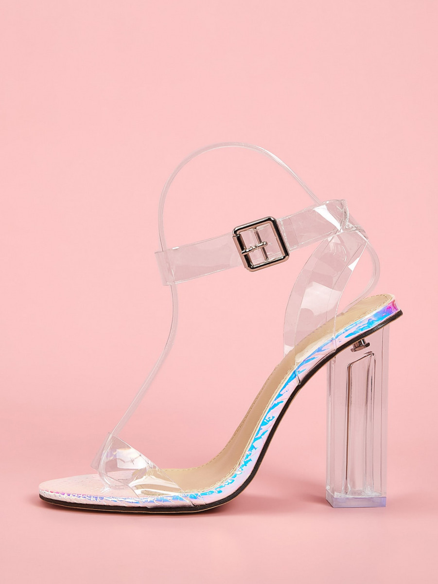 Holographic Detail Clear Strap Chunky Heels