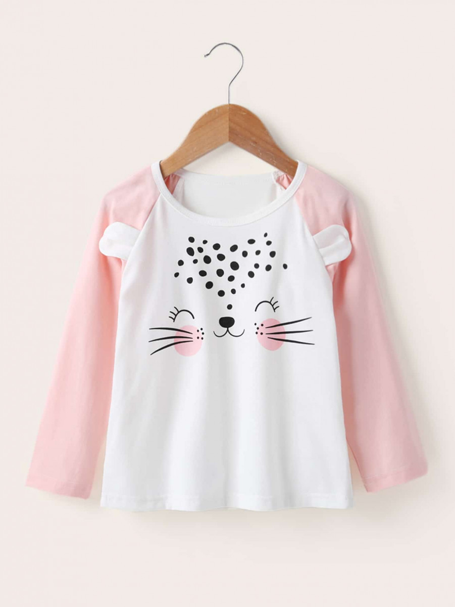 Toddler Girls Contrast Sleeve Cartoon Graphic Tee