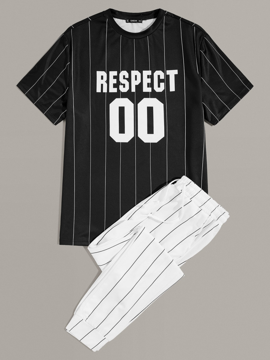 Men Letter Graphic Striped Tee & Pants Set