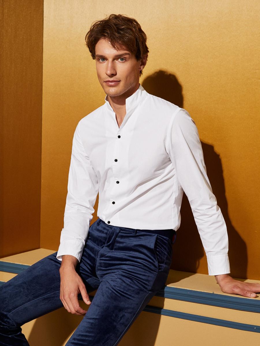 Men Stand Collar Shirt