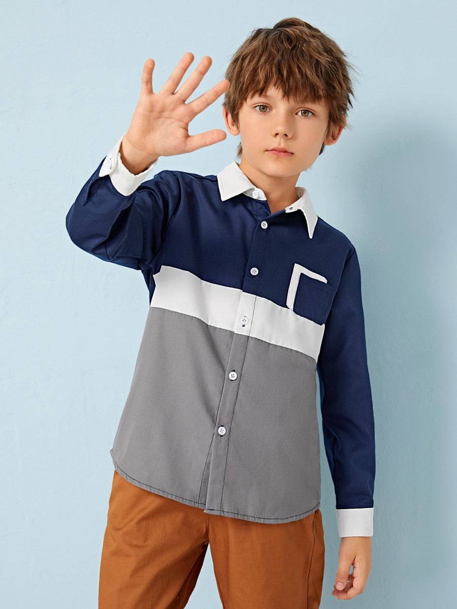 Boys Pocket Patched Colorblock Shirt