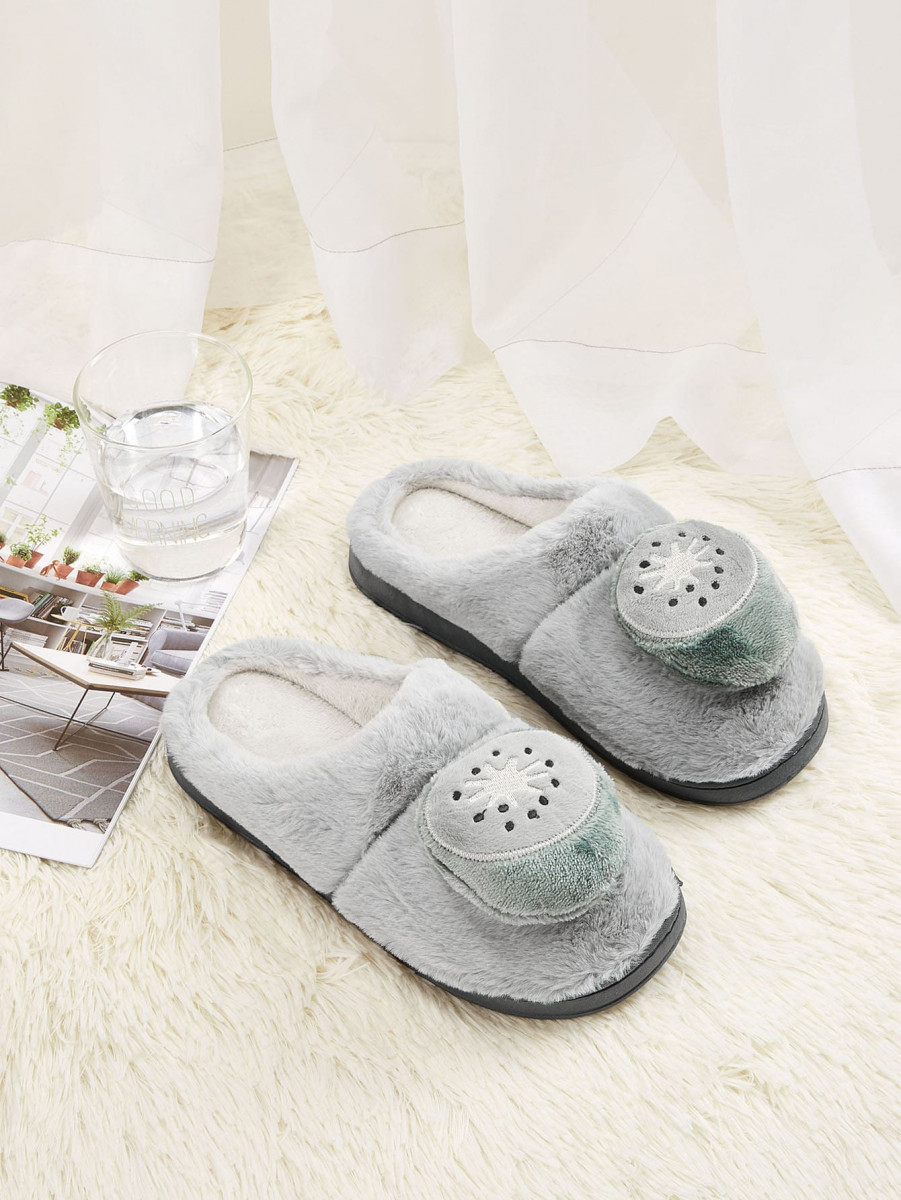 Men Kiwi Decor Fluffy Slippers